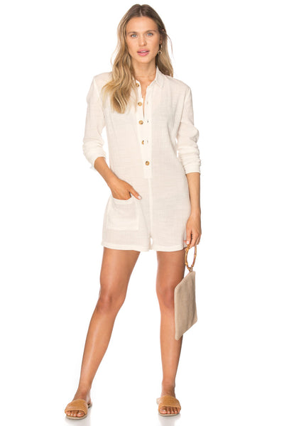 Corto Sheer Button Down Romper with Pockets