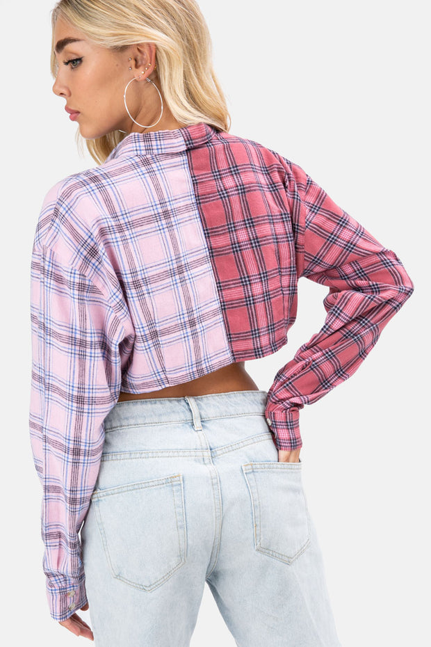 Plaid Crop Button Down Shirt