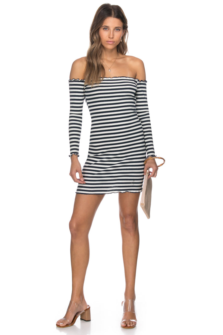 Kalyn Ribbed Striped Off Shoulder Dress