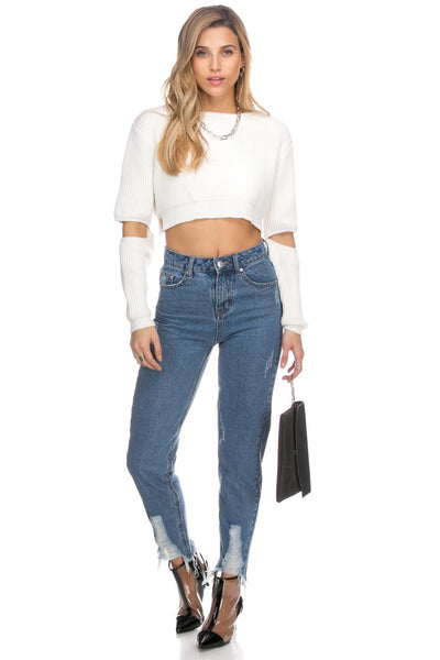 Cut Out Sleeves Crop Sweater