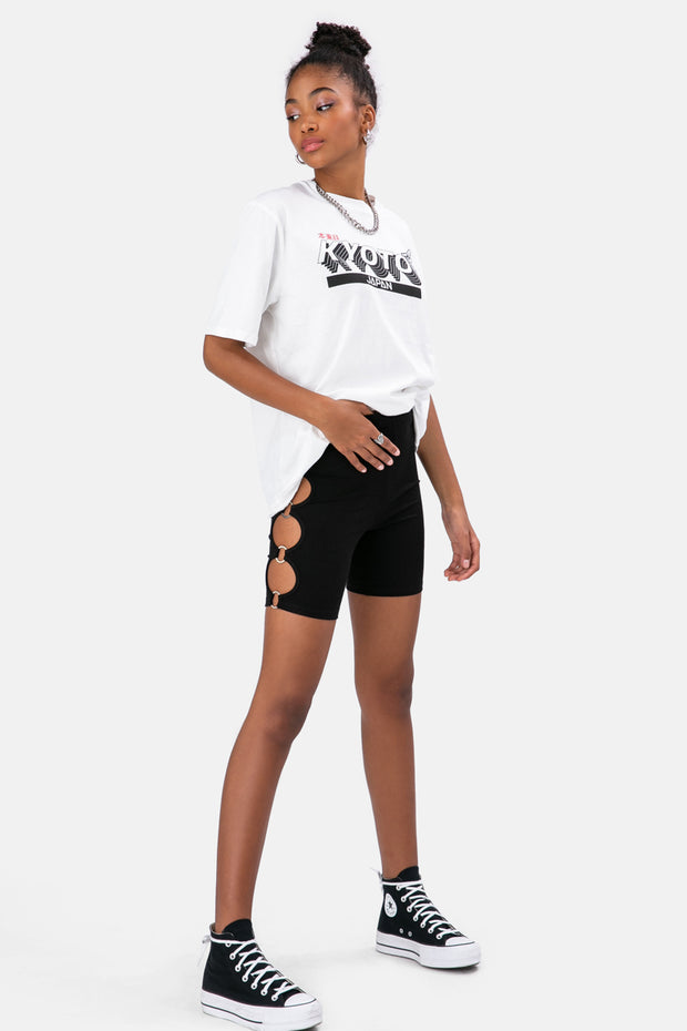 Cut-Out Biker Shorts