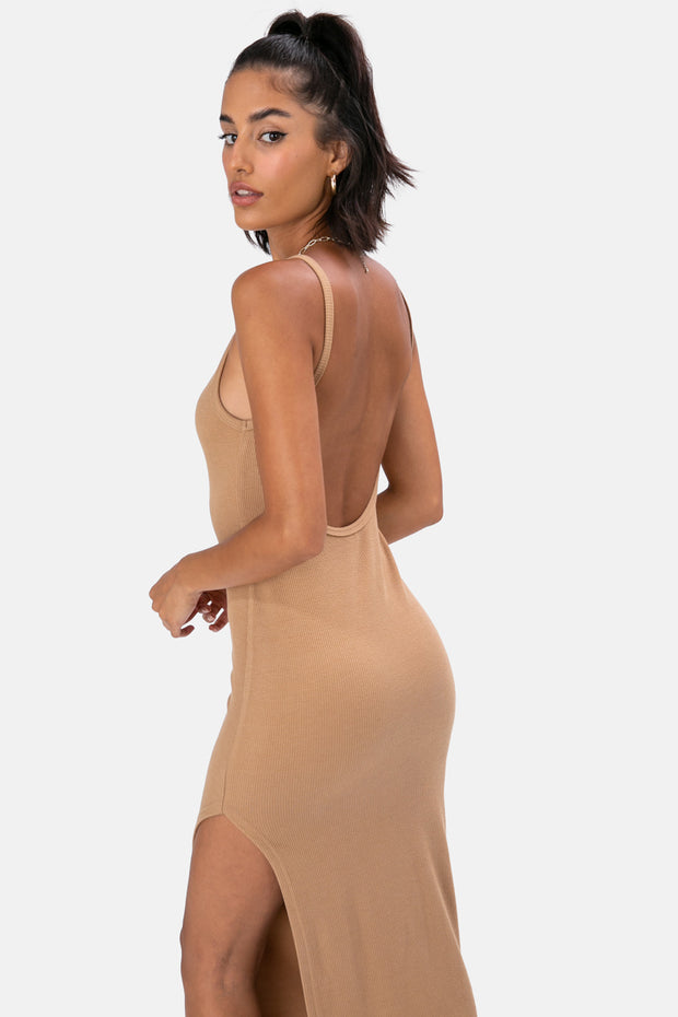Midi Open Back Ribbed Dress