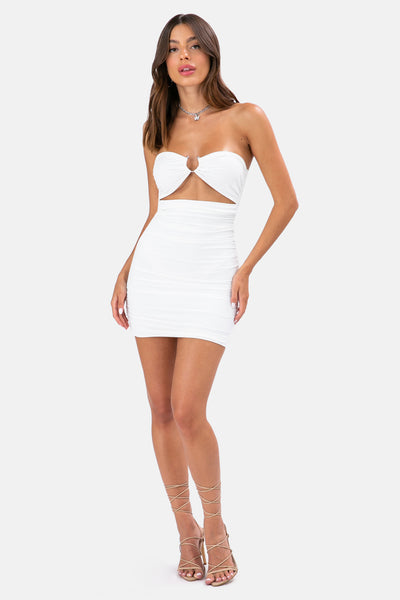 Nova Ruched Strapless Dress