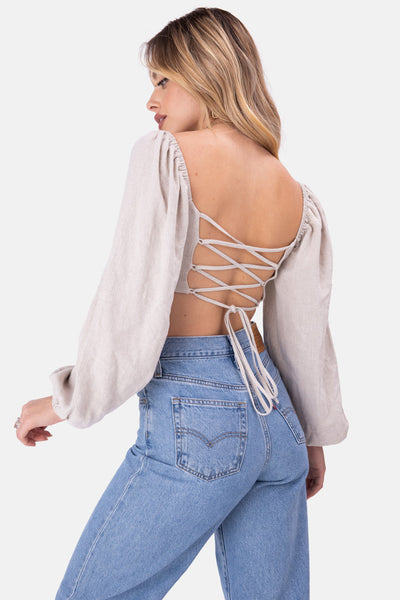 Crow Criss-Cross Back Crop Top