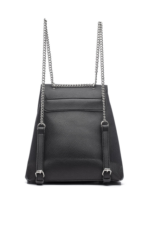 Faux Leather Backpack with Chain
