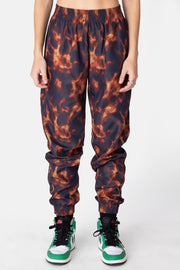 Flames Nylon Sweatpants
