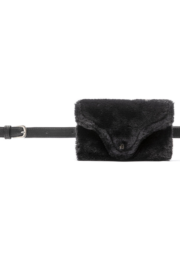 Faux Leather Belt with Faux Fur Wallet
