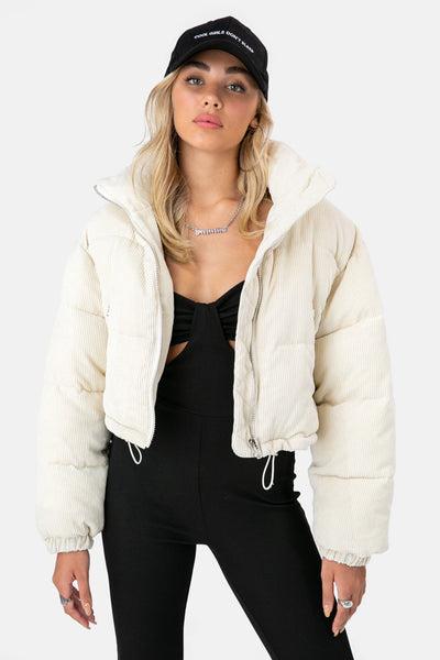 Fox Cropped Corduroy Puffer Jacket