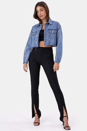 NEVER Cropped Denim Jacket