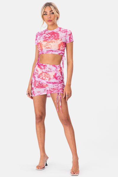 Byron Tie-Dye Mesh Mini Skirt