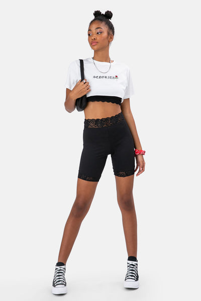 Duncan Lace Trim Biker Shorts