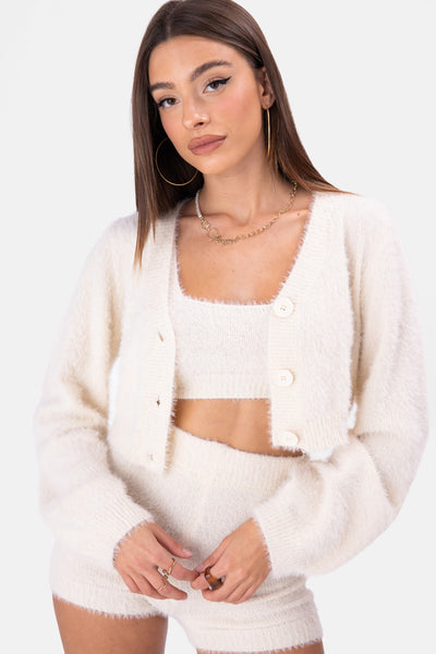 Sands Fuzzy Knit Cropped Cardigan
