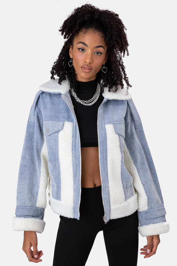 Pilot Fleece-Paneled Denim Jacket