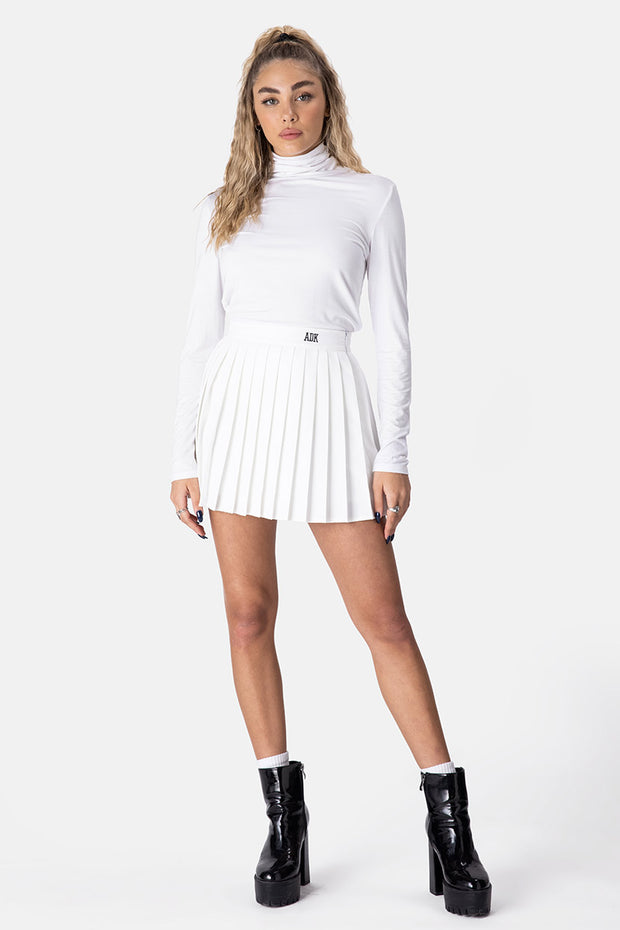 ADK Embroidery Pleated Mini Skirt