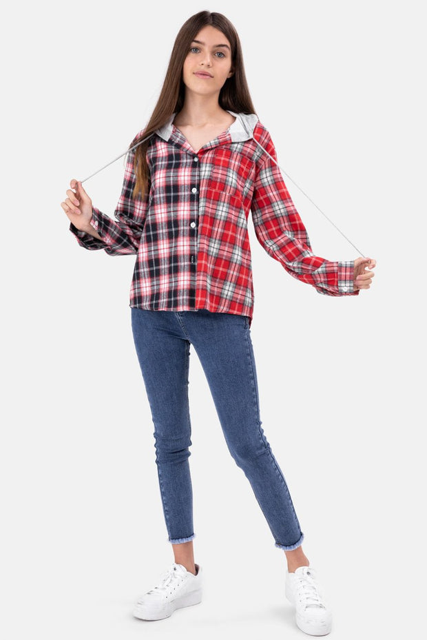 Casey Hooded Plaid Button Down Shirt