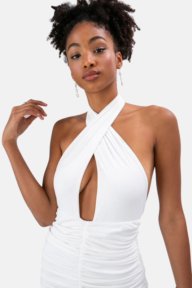 Tori Cross Wrap Halter Dress