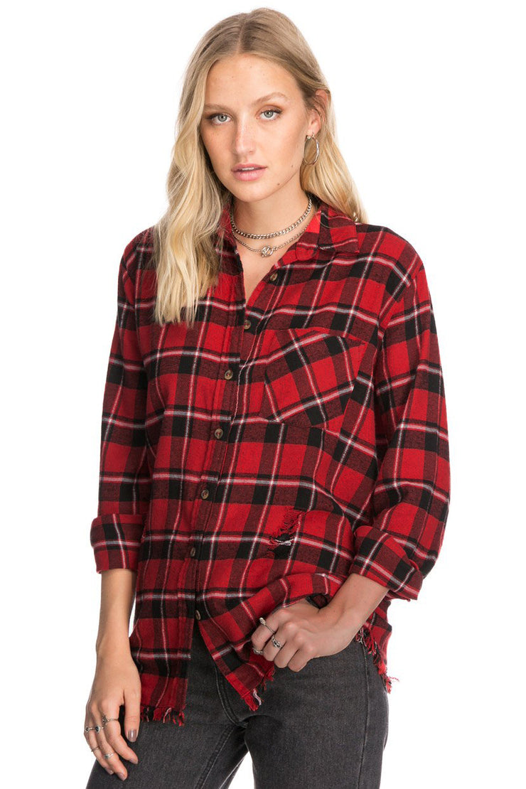 Ripped Flannel Squares Top
