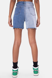 Color-Block Denim Biker Shorts