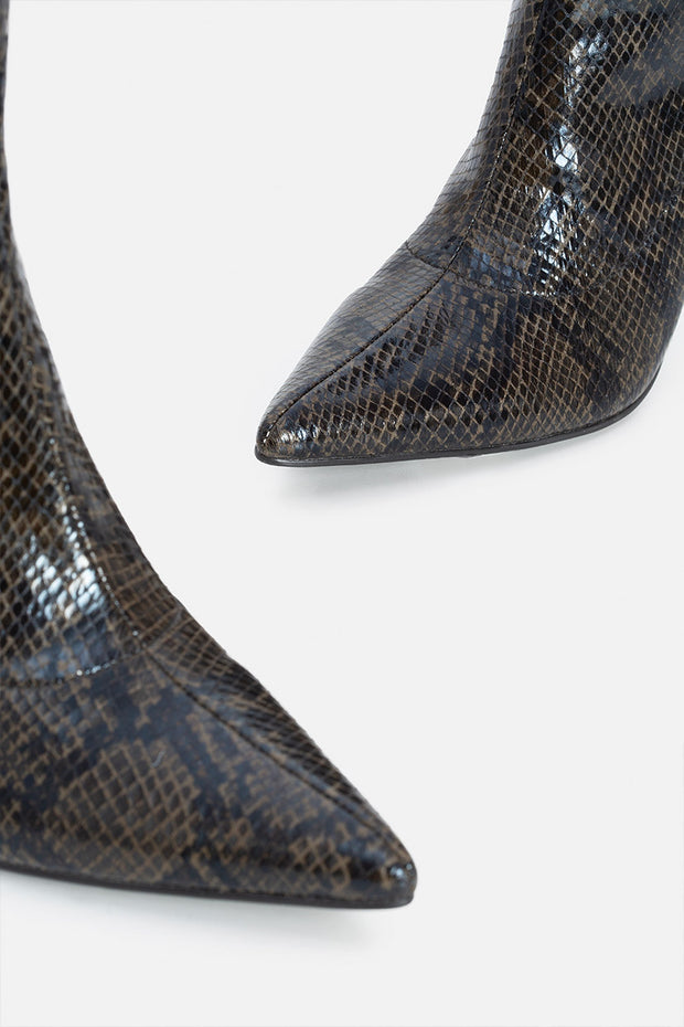 Snake Faux Leather Stiletto Booties