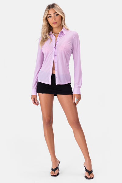 Violetta Sheer Button-Down Shirt