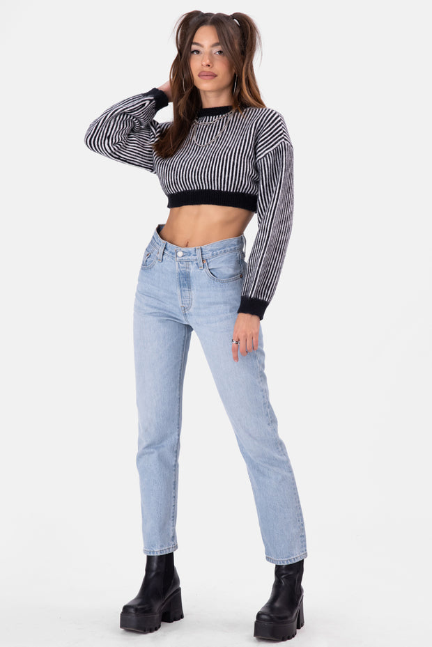 Rust Fuzzy Knit Cropped Sweater