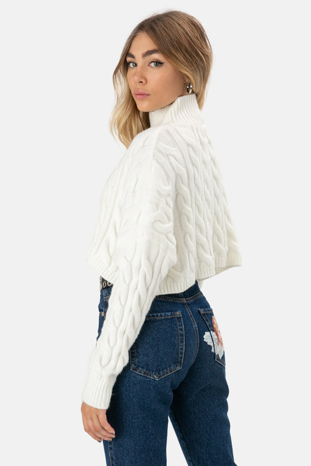 Beverly Cropped Knit Sweater