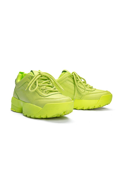 Crazy Neon Faux Leather Sneakers