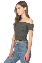 Stripes Off Shoulder Top