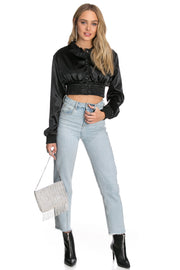 Satin Crop Bomber Jacket