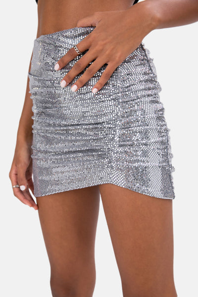 Sequin Skirt with Ruche Detail