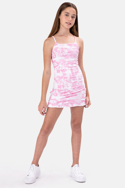 Naya Tie-Dye Ruched Mini Dress