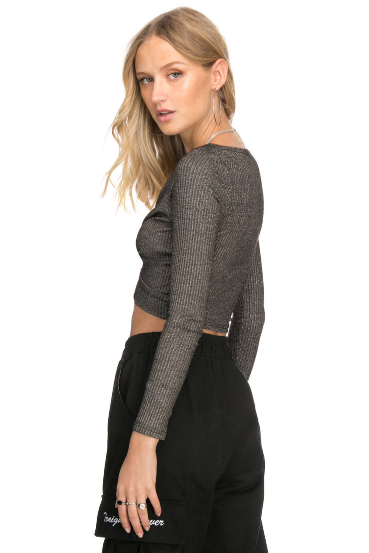 Sparkly Front Twist Ribbed Knit