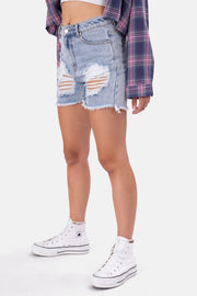 Julie Ripped Denim Shorts