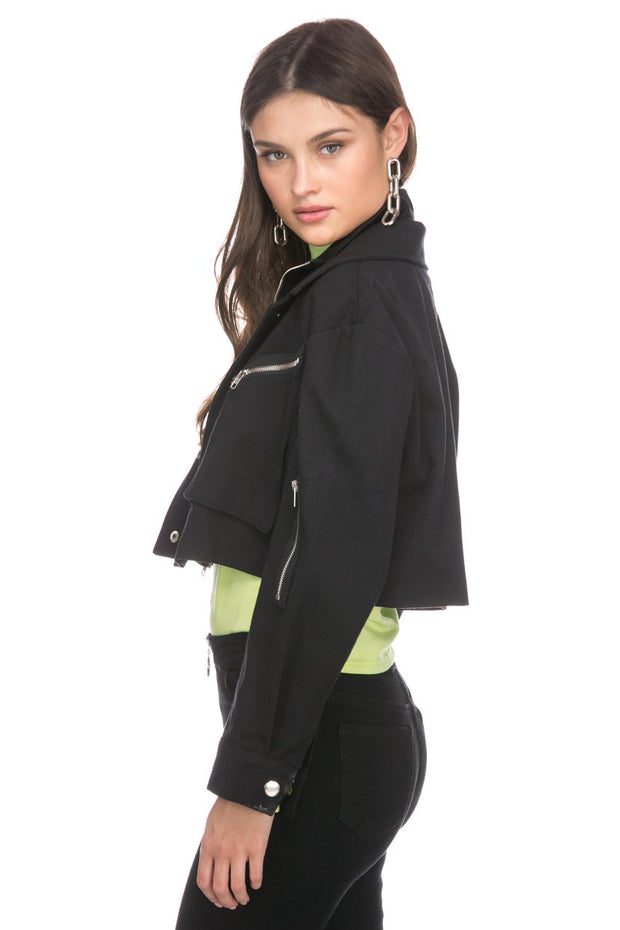 Romson Crop Jacket with Zippers