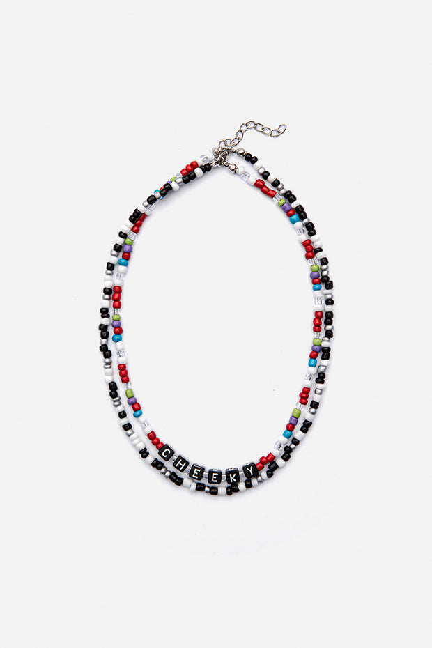 CHEEKY Double-Layer Beaded Necklace