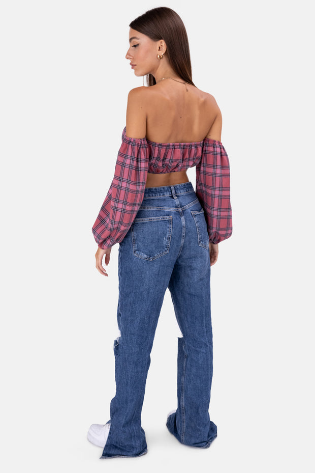 Plaid Off-Shoulder Crop Top
