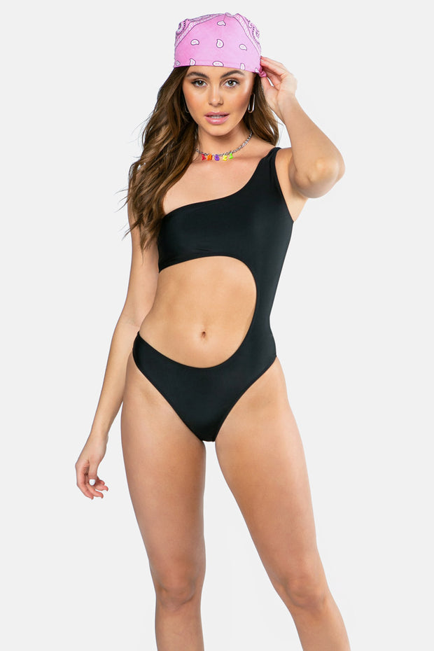One Shoulder Cutout Swimsuit