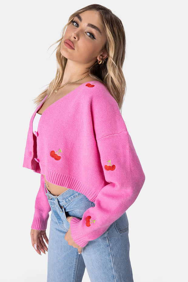 Cherry Bomb Cropped Cardigan
