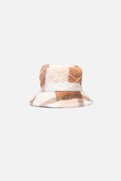 Squared Faux Fur Bucket Hat