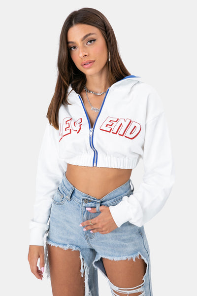 LEGEND Cropped Zipped Hoodie