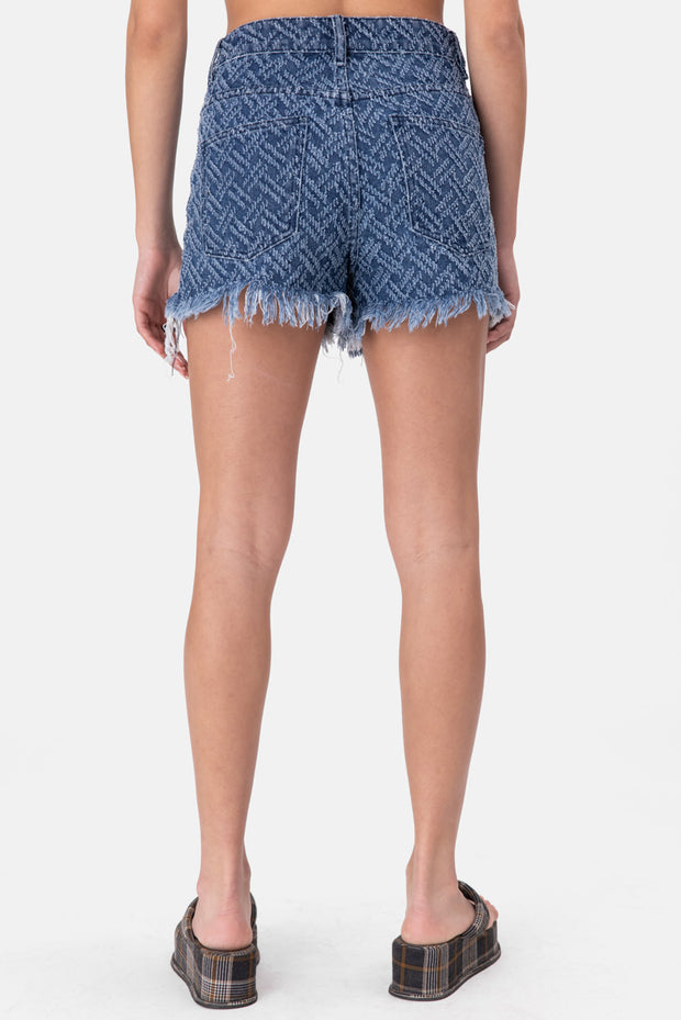 Bell Distressed Pattern Denim Shorts