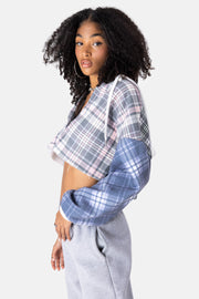 Pie Hooded Cropped Button Down Shirt