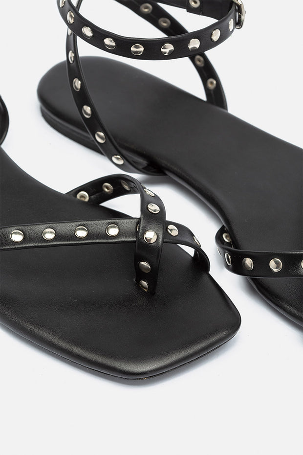 Spike Faux Leather Sandals