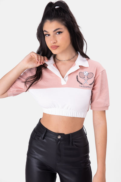 LAKEWOOD Embroidery Cropped Polo Top