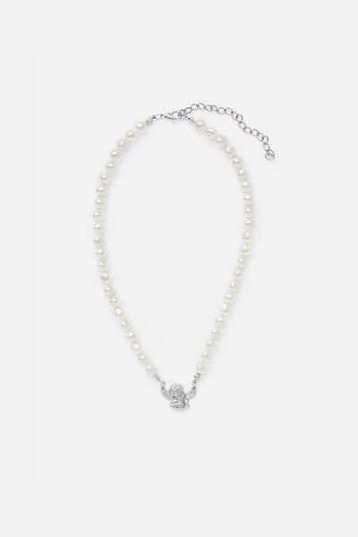 Pearl Necklace with Angel Charm