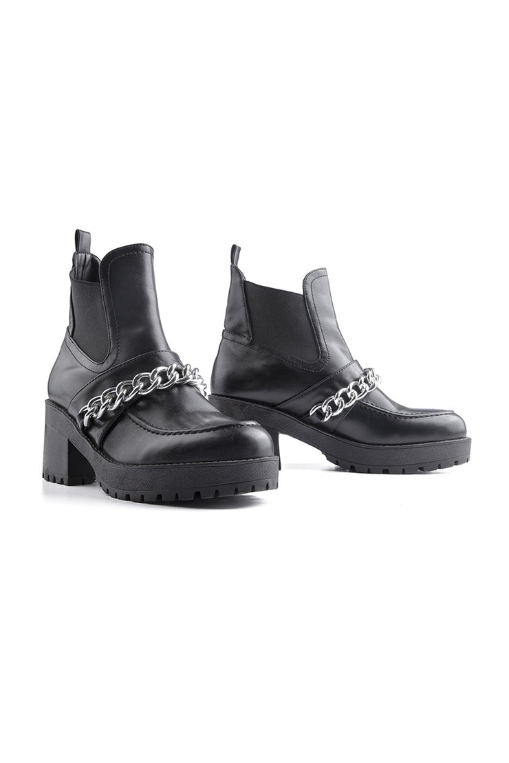 Faux Leather Chain Booties