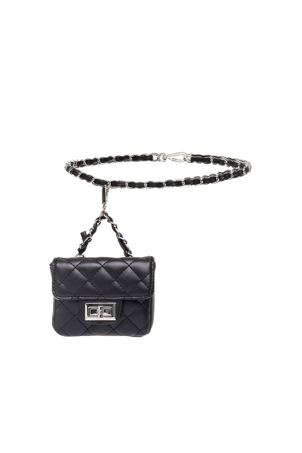 Riri Faux Leather Chain Belt with Wallet