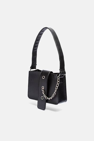 Curb Faux Leather Chain-Detail Bag