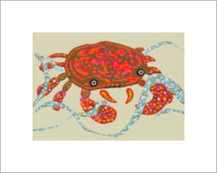 Shoreline crabe 5x7 print with single white matte, ready to frame by Sue Dranchak Artist