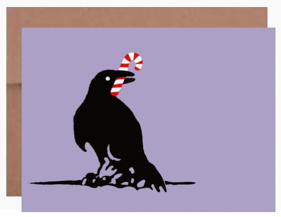 Raven with candy cane ~ Card